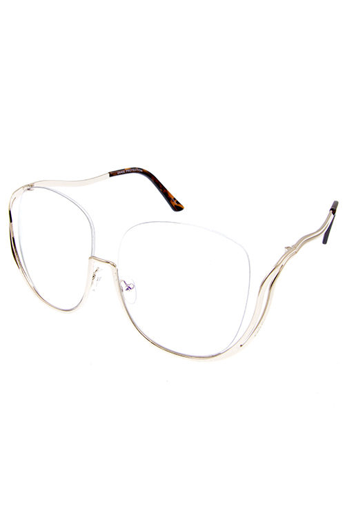 a70a45012b Womens metal cutout high pointed half rimmed clear UV400 protected  sunglasses F4-4707CLR