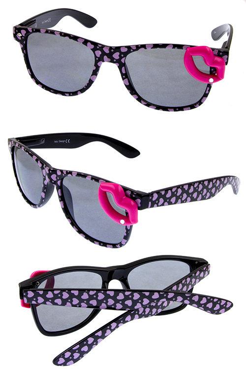 54b1888c52 Womens plastic kiss lips rhinestone stub detailed horned sunglasses A2-15016