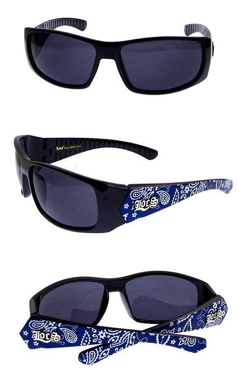 9b326d9aaa50 mens fully rimmed plastic headbandana detailed Locs sunglasses G4 ...