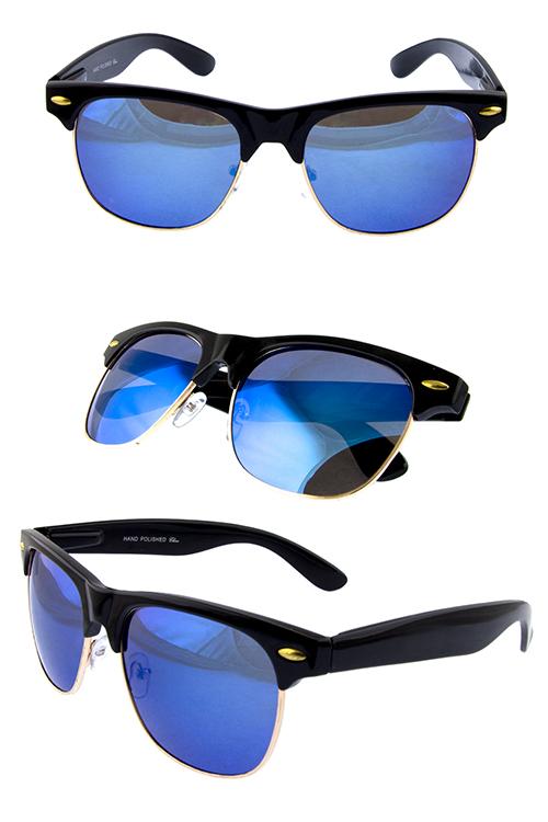 29338cbc31e Unisex mirror lens flash horned rimmed sunglasses B2-RG1074RV