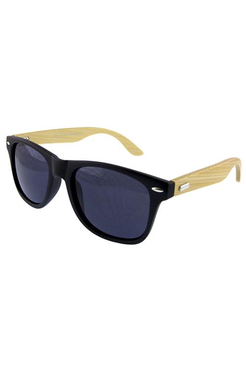 a009c93fe04 Unisex wooden arm detailed horn rimmed sunglasses D-SC93018