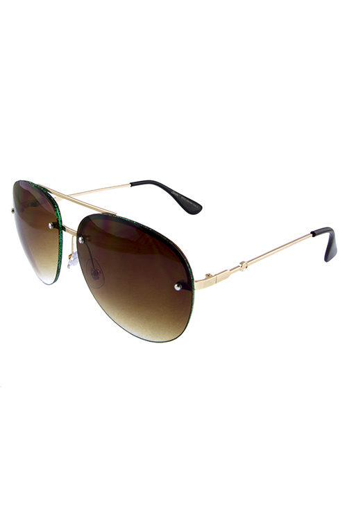 b3d9087411c Womens glitter trim metal aviator sunglasses A3-GSL28164