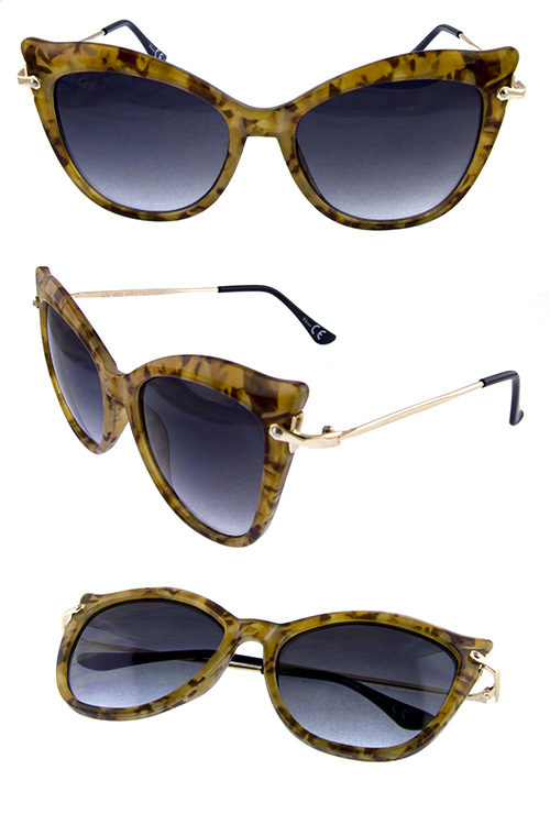6a7e61af0d96 Womens cat eye pointed metal blended sunglasses C1-5249
