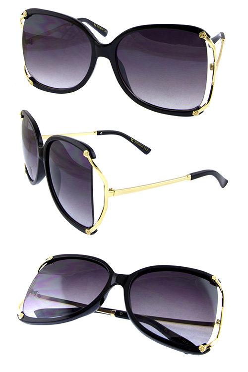 7069d18a5156 Womens metal sideframe cutout square sunglasses D1-VG29245